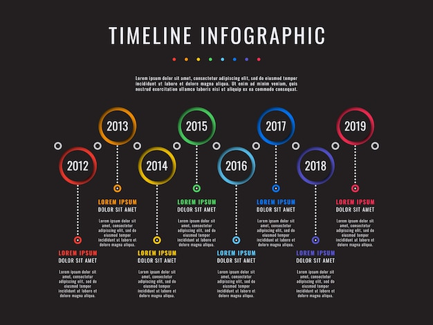 Corporate history timeline on black, business infographics with 8 paper cut elements