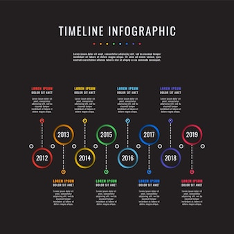 Corporate history timeline on black .