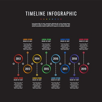 Corporate history timeline business infographics with 8 paper cut elements.