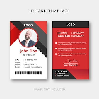 Corporate id card design with red and black
