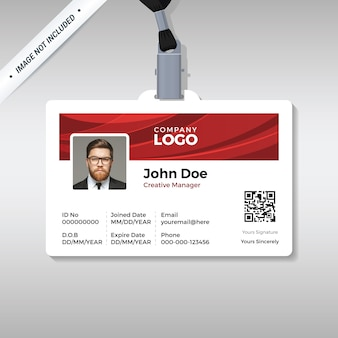 Corporate id card template with red curve background
