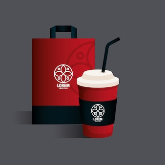 기업 아이덴티티 브랜드, 가방 종이 및 병 음료 빨간색 흰색 기호