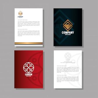 기업 아이덴티티 브랜드, 폴더 및 빨간색과 검은 색 문서
