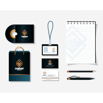 Corporate identity brand mockup, stationery supplies black color vector illustration design