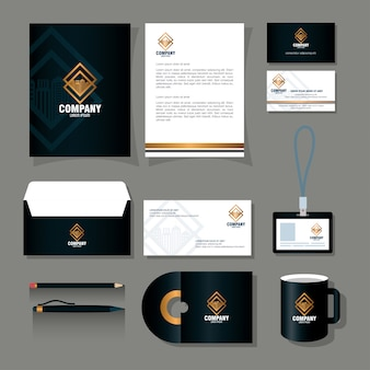 Corporate identity brand mockup, stationery supplies black color with golden sign