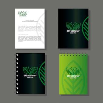 기업 아이덴티티 브랜드, 브로셔 녹색, 녹색 회사 기호가있는 노트북