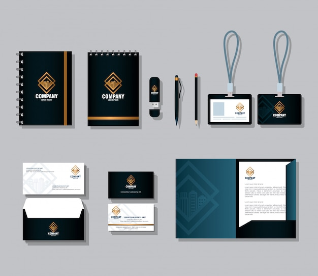 コーポレート・アイデンティティのブランド、セットビジネス文房具、ゴールデンサインと黒