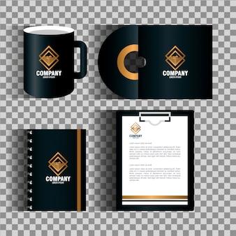 기업 아이덴티티 브랜드, 비즈니스 문구 세트, 황금색 기호가있는 검은 색
