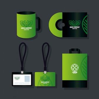 コーポレートアイデンティティブランド、セットビジネス文房具グリーン、グリーン会社記号