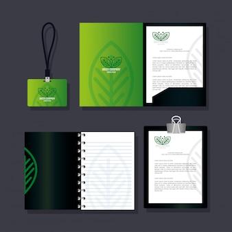 기업 아이덴티티 브랜드, 비즈니스 문구 녹색, 녹색 회사 사인 설정