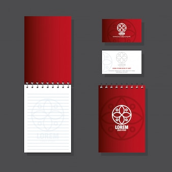 Фирменный стиль бренда, набор деловых канцелярских принадлежностей на сером фоне, красный с белым знаком
