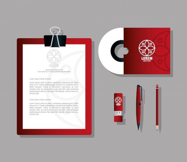 コーポレートアイデンティティブランド、セットビジネス文房具、白い看板と赤
