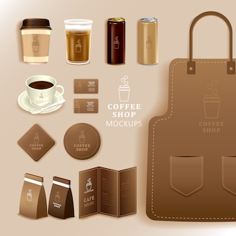 Corporate identity branding mockup, coffee, cafe, food delivery, realistic mockup, uniform, cup, paper pack, menu, illustration