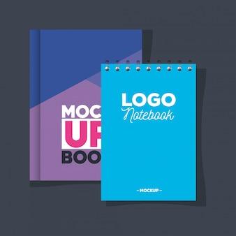 コーポレートアイデンティティブランドモックアップ、ノートブックと本のモックアップ、カバーの紫と青の色