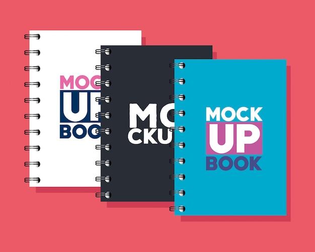コーポレート・アイデンティティのブランドのモックアップ、ノートブックのモックアップ、カバーの白、黒、青の色