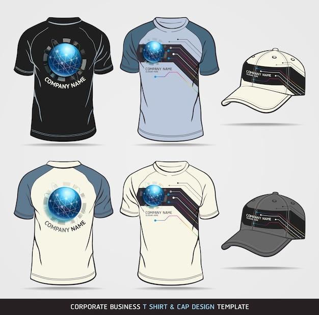 Бизнес-набор фирменного стиля. футболка и кепка шаблон.