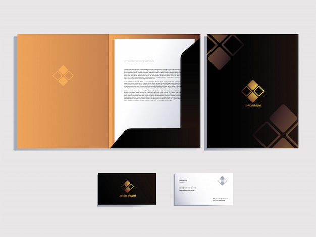 Corporate identity for business over white