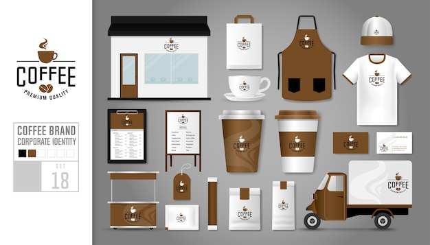 Corporate identity for coffee shop.