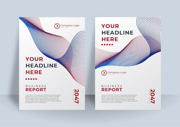 Фирменный стиль обложки бизнес вектор дизайн с волнистыми линиями полос. флаер, брошюра, реклама абстрактный фон, шаблон макета журнала leaflet modern, годовой отчет для презентации