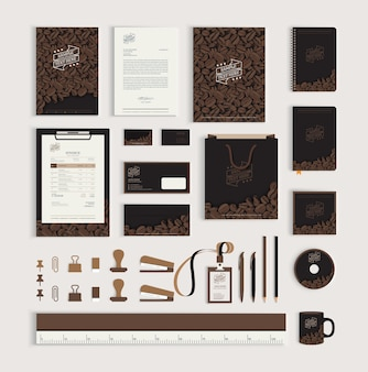 Corporate identity design template with coffee beans