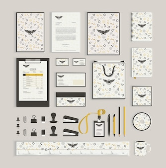 Corporate identity design template with memphis pattern