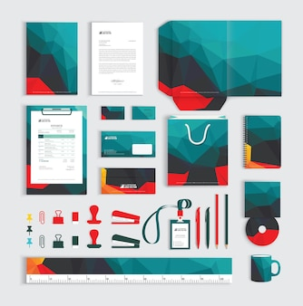 Corporate identity design template with polygonal pattern