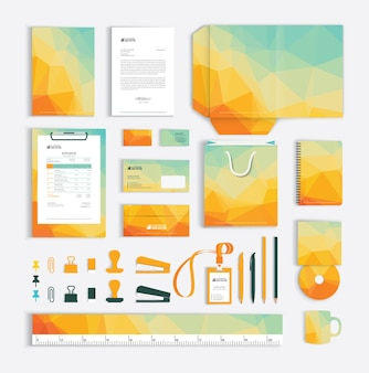 Corporate identity design template with triangle pattern