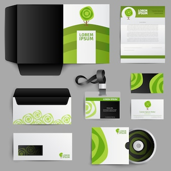 Фирменный стиль Экодизайн с зеленым деревом
