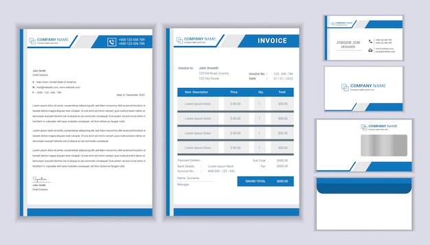 Corporate identity. editable corporate stationery identity template.