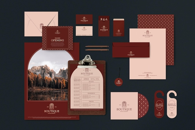 Corporate identity editable template set for restaurant in muted red tone