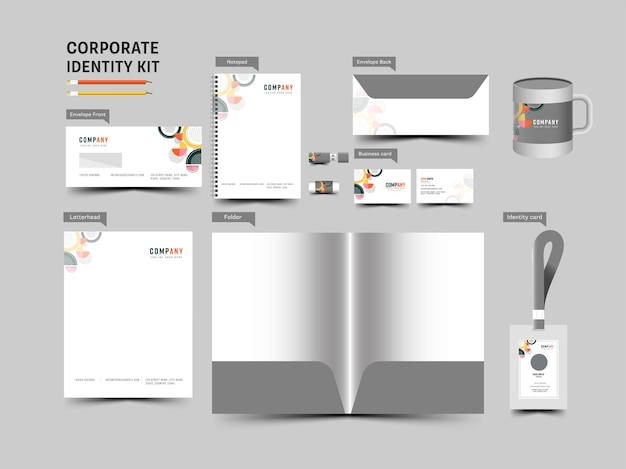 Corporate identity kit including editable folder, notepad, double-side envelope, cup, id and business card