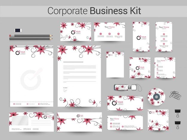 美しい花と企業のアイデンティティキット。