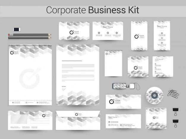 灰色の幾何要素を持つ企業アイデンティティキット。