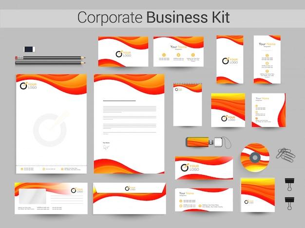 赤と黄色の波を持つ企業アイデンティティキット。 Premiumベクター
