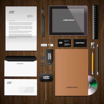 Макет фирменного стиля с бизнес-канцелярскими векторными изображениями