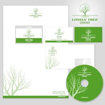 Corporate identity mockup with tree logo