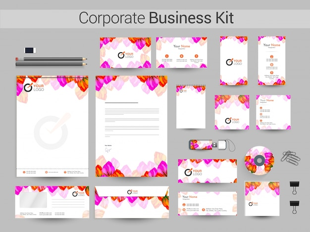 美しい花と企業のアイデンティティまたはビジネスキット。