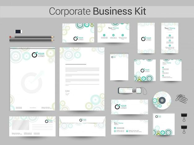 企業のアイデンティティーまたはビジネスキット(緑色の円)。