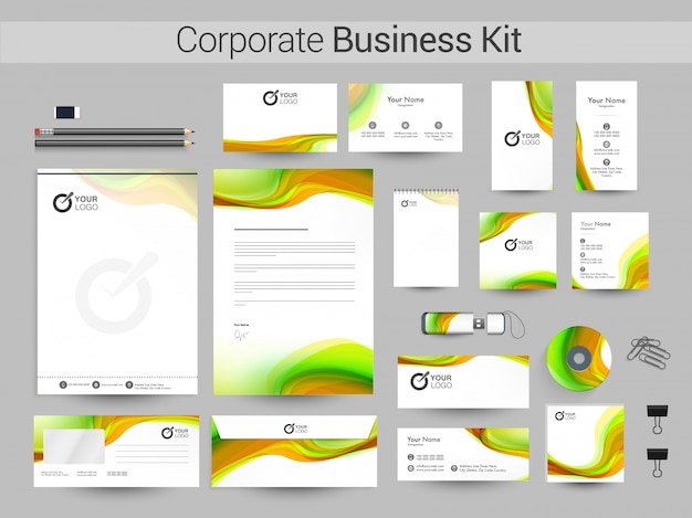 企業アイデンティティーまたはビジネスキット(波付き)。