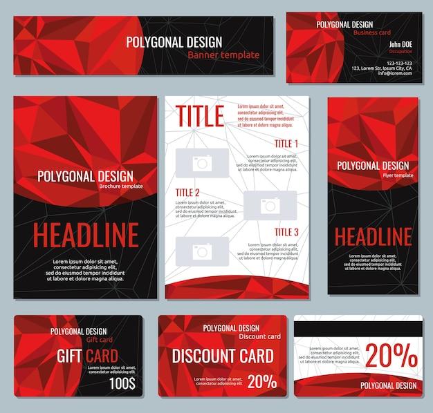 Фирменный стиль красные многоугольные баннеры и флаеры, векторные брошюры и подарочные карты, иллюстрация o