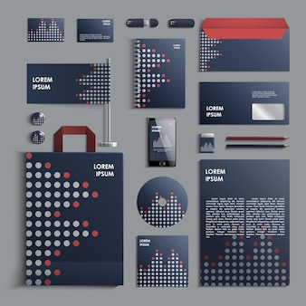 Corporate identity template in blue and grey colors with pattern of circles