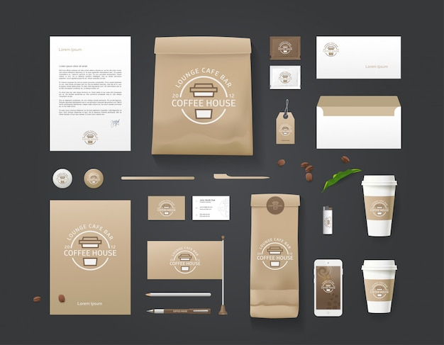 Corporate identity template. business set for coffee shop, cafe, restaurant. branding coffee concept
