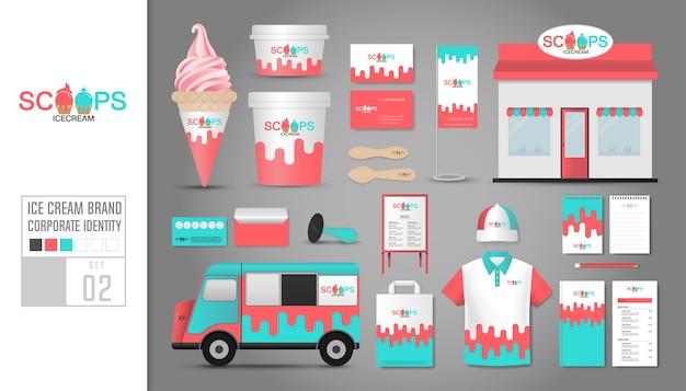 Corporate identity template for ice cream shop