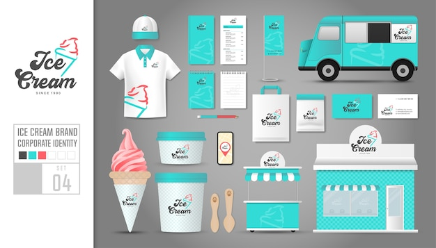 Corporate identity template for ice cream shop