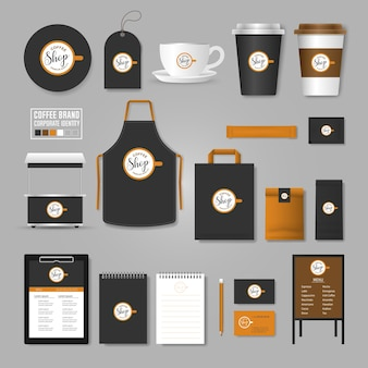 Corporate identity template. logo concept for coffee shop, cafe, restaurant.