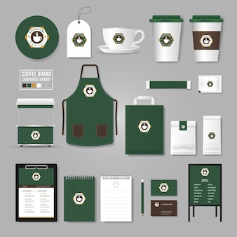 기업의 정체성 템플릿. 커피 숍, 카페, 레스토랑 로고 개념.
