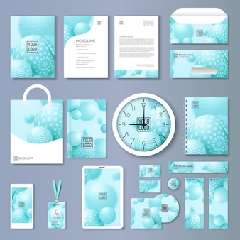 Insieme di modelli di identità aziendale. progettazione del marchio. modello vuoto. mock-up di cancelleria aziendale con logo. grande collezione.