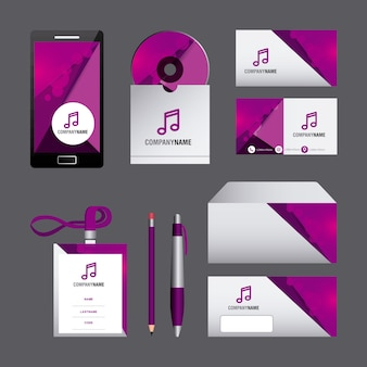 Corporate identity template set business stationery mock-up with emblem branding