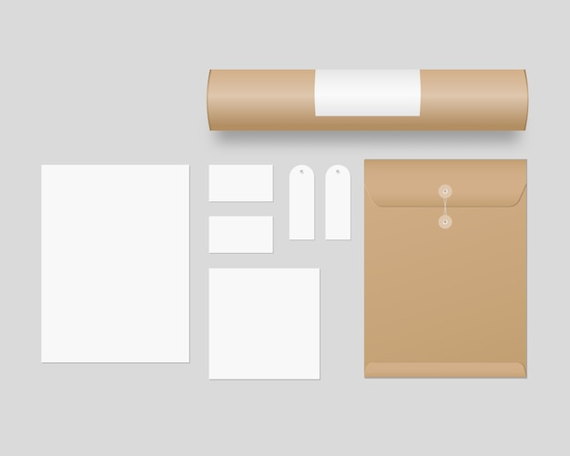 Corporate identity template set. business stationery  with envelope, paper, business cards, paper tube, price tags.   . template . realistic  illustration.
