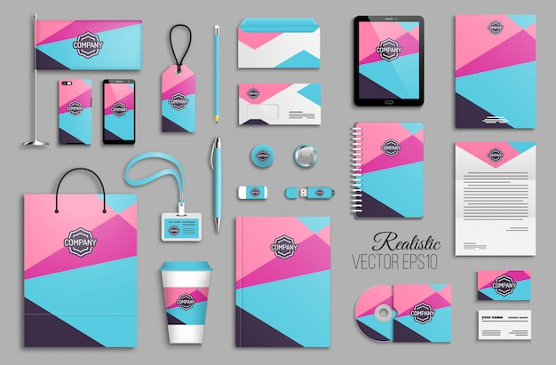 Corporate identity template set with abstract geometric triangle shapes background. business stationery with logotype. creative trendy branding design